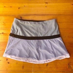 Athleta Skort Gray Sheer Ruffle Stretch Skirt L